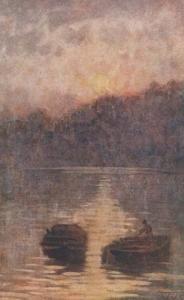 Renzo Weiss Riflessi Sailing Boat Italian Fisherman Antique Painting Postcard