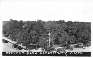Garden City Kansas~Stevens Park Bird's Eye View~Cars Along Front~1940s RPPC