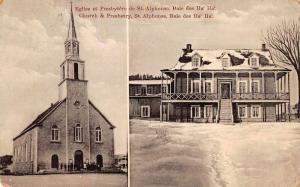 St Alphonse Quebec Canada Church and Presbetry Vintage Postcard J926569