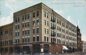 Iowa Waterloo La Fayette Building and City Hall 1910