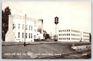 Fort Ft Madison Iowa~Sheaffer Pen Factory~Plant Water Tower~RR Tracks~1944 RPPC