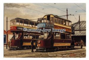 tm6144 - Birkenhead Trams to Woodside Ferry 1930, Artist - G.S.Cooper - postcard