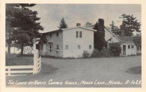 F80/ Moose Lake Minnesota RPPC Postcard c1940s Lodge Hart's Coffee House