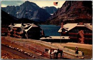 1950s GLACIER NATIONAL PARK Postcard Glacier Hotel & Swift Current Lake Unused