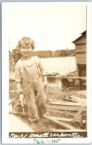 Vintage Real Photo RPPC Boy in Overalls Our Small Carpenter c1910s