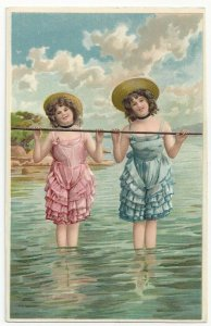 AS: Two girls holding a stretched out rope in the water, 1900-10s PFB 6271