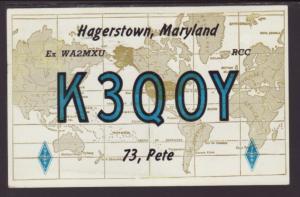 K3QOY,Hagerstown,MD,QSL Card Postcard