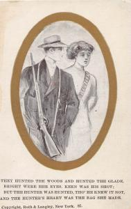 MAN CARRYING RIFLE TO HUNT IN THE WOODS W/ WOMAN  ARTIST SKETCH W/POEM POSTCARD