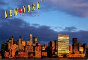 New York City Skyline and United Nations Building At Night 1997