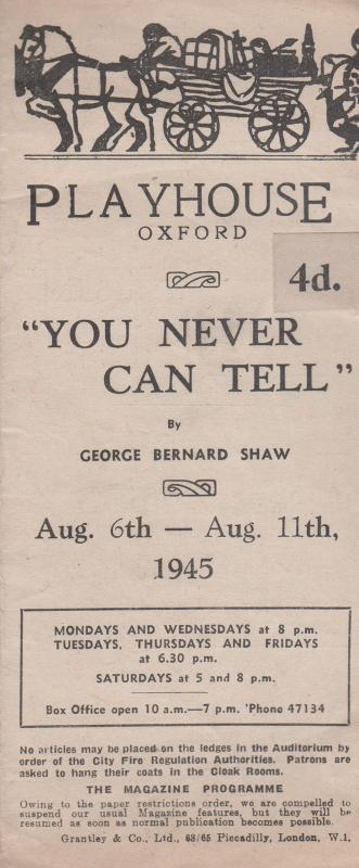 You Can Never Tell George Bernard Shaw Oxford Playhouse WW2 Theatre Programme