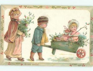 Pre-1980 Christmas GIRL IN WHEELBARROW GETS RIDE FROM BROTHER AB5994