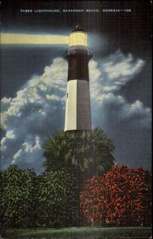 Savannah Beach GA Lighthouse Shining at Night Postcard