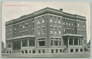 Canton South Dakota~Rudolph Hotel~Porches Both Sides~1909 B&W Postcard