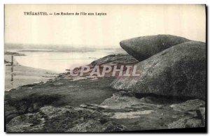Old Postcard Tregastel The Rocks I Island of Rabbits