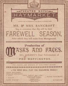 Masks & Faces Peg Woffington Puppet Make Up Victorian 1885 Theatre Programme