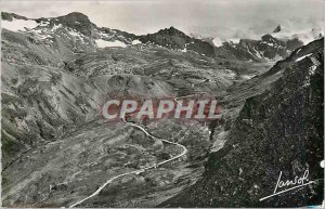 Modern Postcard The Iseran Pass The highest road in Europe The laces of the c...