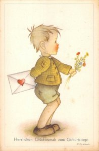 US3373 Artist signed Probst Gluckwunsch zum Geburtstage Boy with Mail Flowers