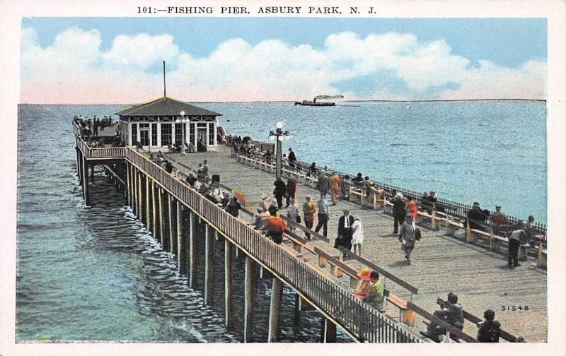 Fishing Pier, Asbury Park, New Jersey, Early Postcard, Unused