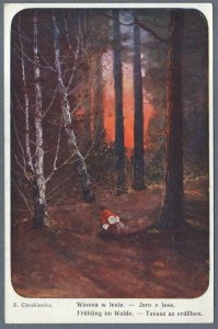 Old Postcard Autumn in the Forest by E. Cieczkiewicz
