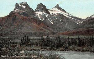 Three Sisters, Banff, Canadian Rockies, Alberta, Canada, Early Postcard, Unused