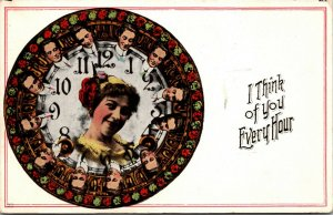 1912 - Romance - Love -  I THINK OF YOU EVERY HOUR - Humor - Vintage POSTCARD