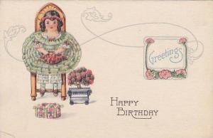 Greetings, Happy Birthday, Girl in tutu sitting in chair holding strawberries...