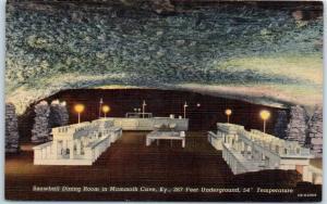 Mammoth Cave, Kentucky Postcard SNOWBALL DINING ROOM Curteich Linen c1940s