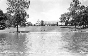 Angola Indiana~Pokagon State Park~Potawatomi Inn from Across Pond~1940s RPPC