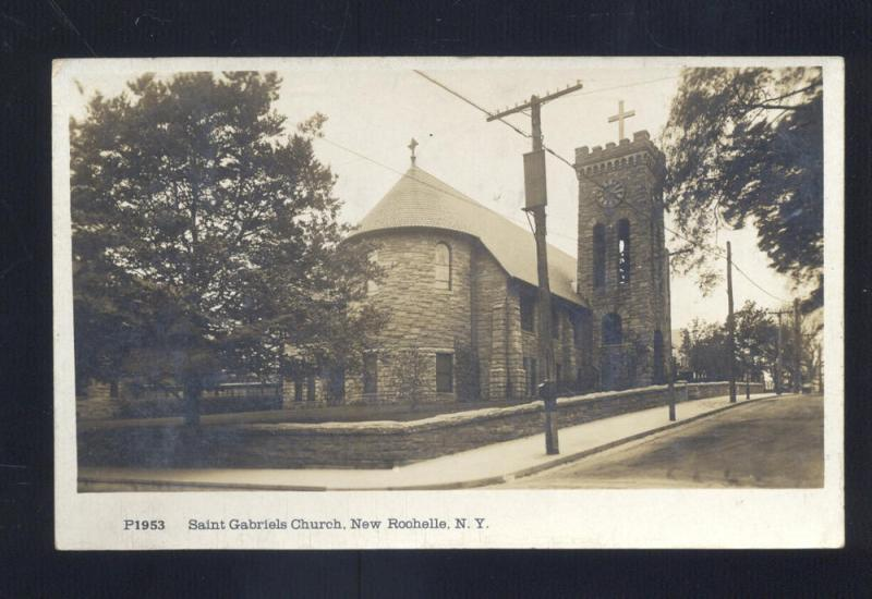 RPPC NEW ROCHELLE NEW YORK ST. GABRIELS CHURCH VINTAGE REAL