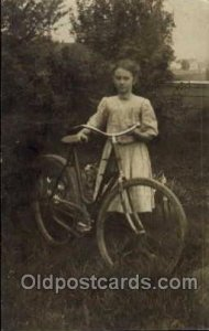 Chidren on Bicycles, tricycles Writing On Back sleight corner wear almost per...