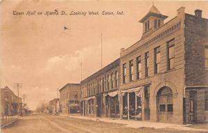 E38/ Eaton Indiana In Postcard 1914 Town Hall Harris Street Fire Department