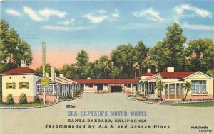 1940s Santa Barbara California Sea Captains Motor Hotel Teich linen 9199