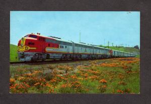 CA Santa Fe Railroad Train Super Chief California Chicago Illinois Postcard PC