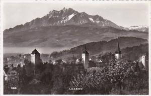 Switzerland Luzern Museggtuerme mit Pilatus Photo