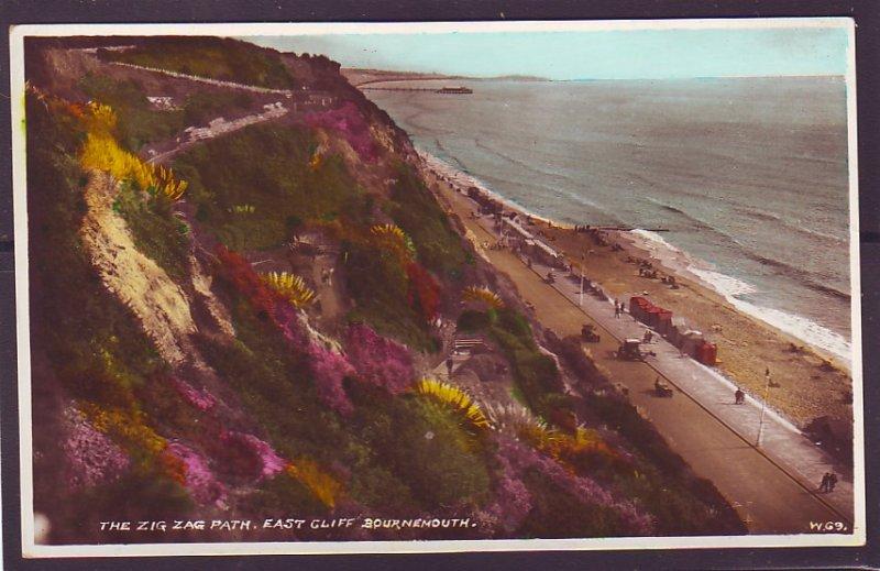 P1391 vintage unused RPPC beautiful view zig zag path cliffs bournemouth u.k.