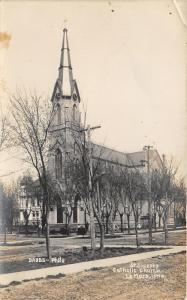 LeMars Iowa~St Joseph's Catholic Church~Tall Clock Tower~c1910 Dabbs RPPC