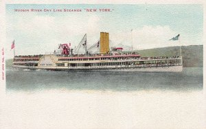 Hudson River Day Steamer New York,  early postcard, undivided back, unused