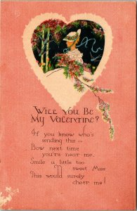 ANTIQUE VALENTINE Postcard    WILL YOU BE MY VALENTINE?, ART NOVEAU