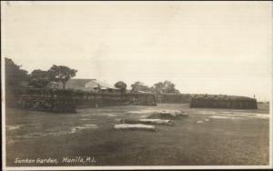 Manila Philippines Sunken Garden c1910 Real Photo Postcard