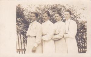 Women Posing Mary & Ella Smucker & Friends 28 April 1908 Real Photo