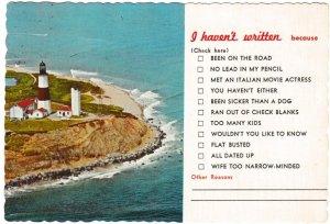 Postcard US New York Montauk Point Lighthouse + excuses