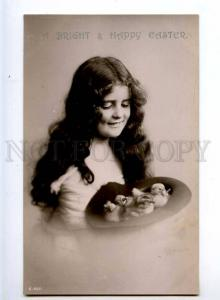 244066 EASTER Girl LONG HAIR & Chickens in Hat Vintage PHOTO