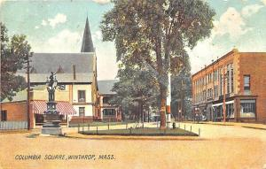 Winthrop MA Columbia Square Store Fronts in 1907 Postcard