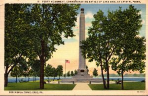 Pennsylvania Erie Perry Monument At Crystal Point 1937 Curteich