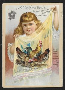 VICTORIAN TRADE CARD New Home Sewing Co Girl Holding Cloth Fac-Simile Sample