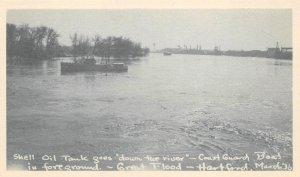 Shell Oil Tank & Coast Guard Boat, Hartford, CT 1936 Flood Vintage Postcard