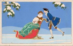 G. Meschini 'Ars Nova' Man Pushing Woman in Sled Art Deco Postcard G12 *as is