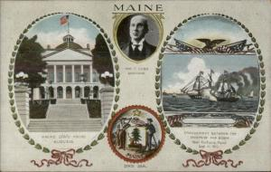 New England State Capitol Governor & Seal Series c1910 Postcard MAINE