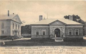 Dexter Maine~Abbott Mem Library~Goethe-Averbach-Shakespeare-Milton on Side~1906
