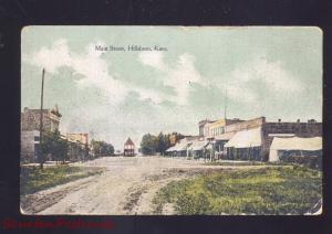 HILLSBORO KANSAS DOWNTOWN MAIN STREET SCENE ANTIQUE VINTAGE POSTCARD 1911